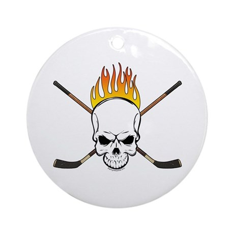 Skull Hockey Ornament (Round)