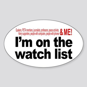 On watch list Oval Sticker
