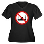No Mosque Women's Plus Size V-Neck Dark T-Shirt