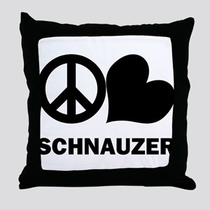Peace Love Schnauzer Throw Pillow