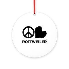 Peace Love Rottweiler Ornament (Round)