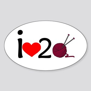 i heart 2 knit Sticker (Oval)
