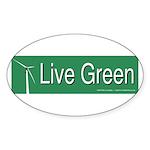 Live Green Windmill Sticker (Oval 50 pk)
