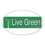 Live Green Windmill Sticker (Oval 10 pk)