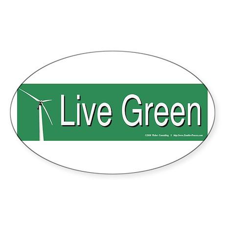 Live Green Windmill Sticker (Oval)