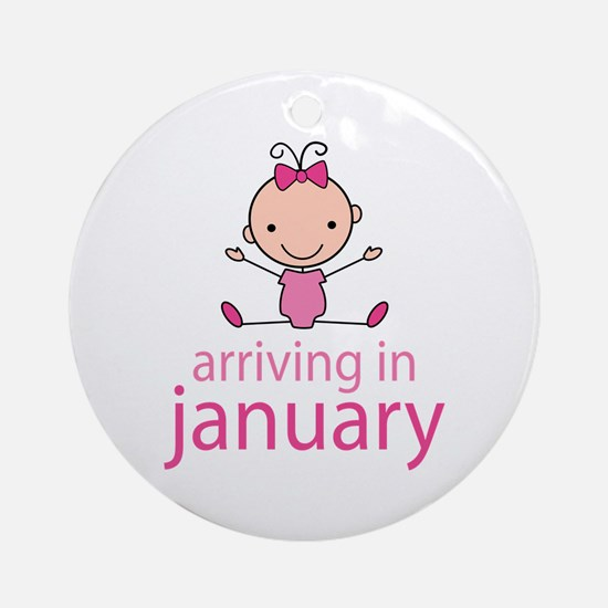 Stick Figure Baby January Due Date Ornament (Round