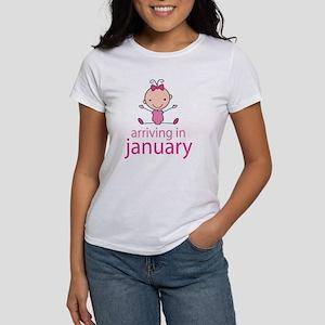 Stick Figure Baby January Due Date Women's T-Shirt