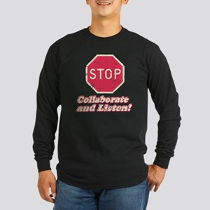 STOP! Long Sleeve Dark T-Shirt