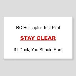 RC Heli Test Pilot Sticker (Rectangle)