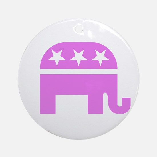 Pink Elephant Ornament (Round)
