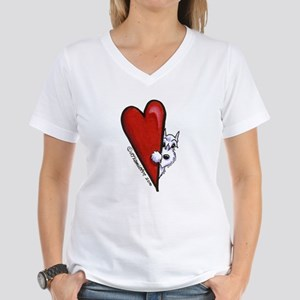 White Schnauzer Lover Women's V-Neck T-Shirt