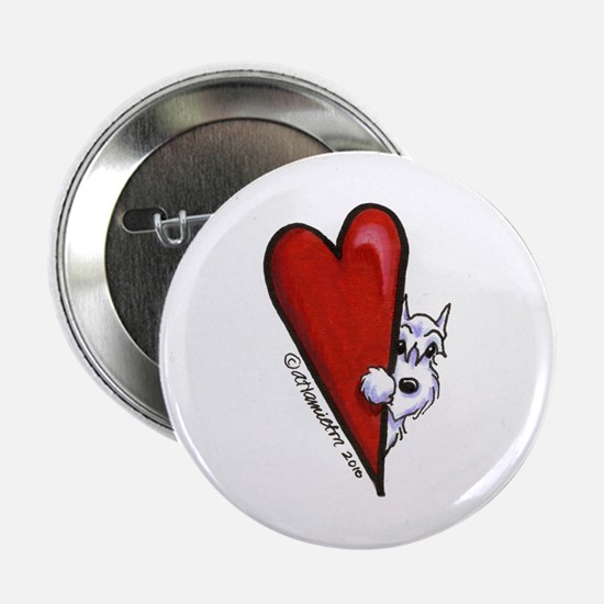 """White Schnauzer Lover 2.25"""" Button"""