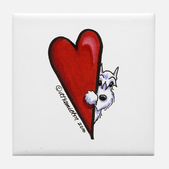 White Schnauzer Lover Tile Coaster