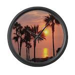 Romantic Beach Sunset Large Wall Clock
