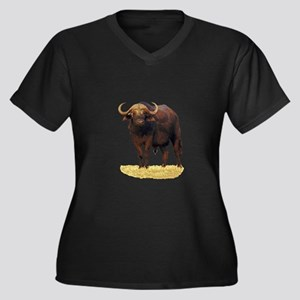 African Water Buffalo Women's Plus Size V-Neck Dar