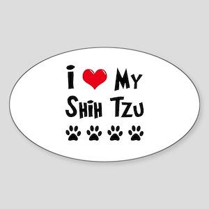 I Love My Shih Tzu Sticker (Oval)