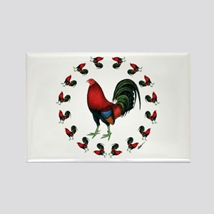 Rooster Circle Rectangle Magnet
