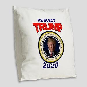 RE-ELECT TRUMP Burlap Throw Pillow