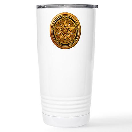 Gold Pagan Pentacle Stainless Steel Travel Mug