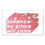 Somehow my prince will come Sticker (Rectangle 50