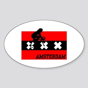 Amsterdam Cycling Female Sticker (Oval)