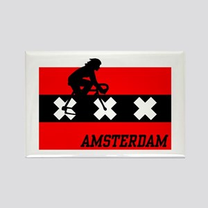 Amsterdam Cycling Female Rectangle Magnet