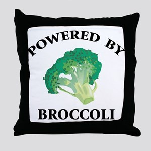 Powered By Broccoli Throw Pillow