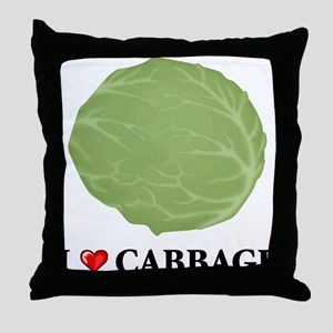 I Love Cabbage Throw Pillow