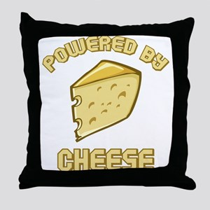 Powered By Cheese Throw Pillow