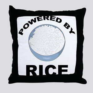Powered By Rice Throw Pillow