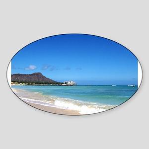 Waikiki Beach~XOXO HAWAII Sticker (Oval)