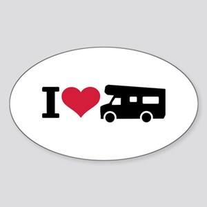 I love camping - camper Sticker (Oval)