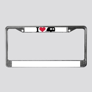 I love camping - trailer License Plate Frame