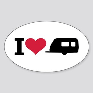 I love camping - trailer Sticker (Oval)