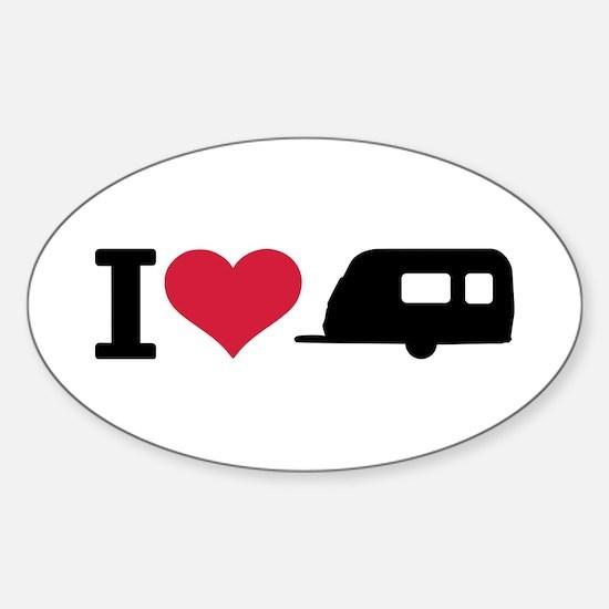 I love camping - trailer Sticker (Oval)