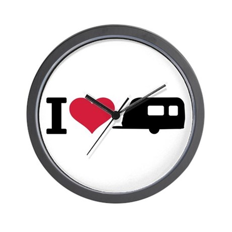 I love camping - trailer Wall Clock