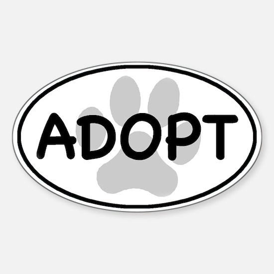 Adopt Paw White Oval Sticker (Oval)
