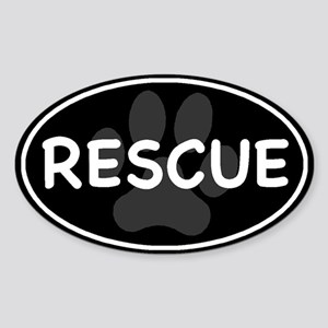 Rescue Paw Black Oval Sticker (Oval)