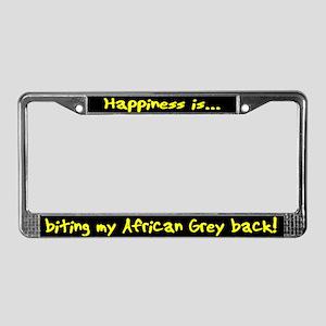 HI Biting African Grey License Plate Frame