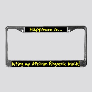 HI Biting African Ringneck License Plate Frame