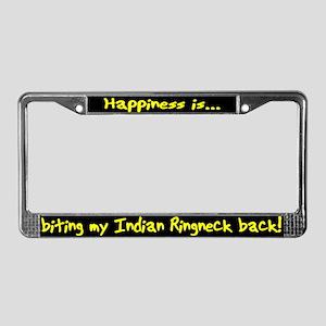 HI Biting Indian Ringneck License Plate Frame