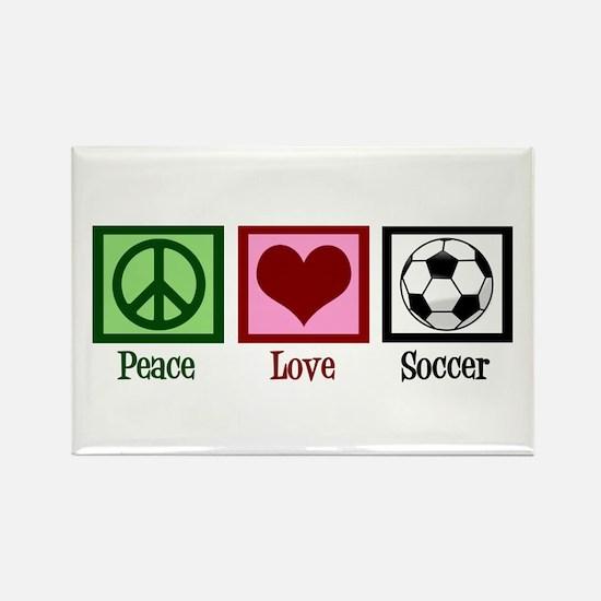 Peace Love Soccer Rectangle Magnet