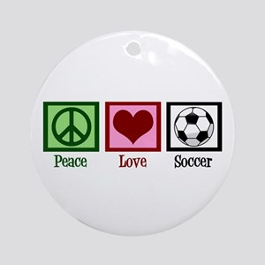 Peace Love Soccer Ornament (Round)