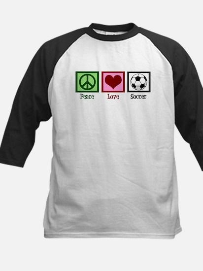Peace Love Soccer Kids Baseball Jersey