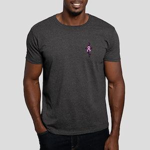 Breast Cancer Ribbon Cross black Dark T-Shirt