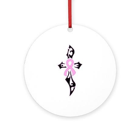 Breast Cancer Ribbon Cross black Ornament (Round)