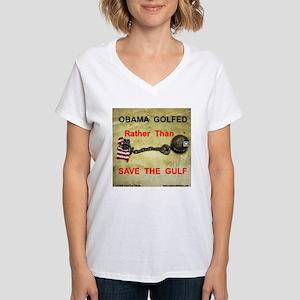 OBAMA GOLFED ! Women's V-Neck T-Shirt