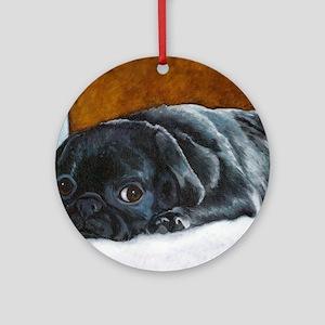 Resting Black Pug Puppy Ornament (Round)
