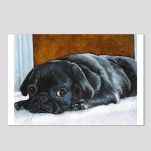 Resting Black Pug Puppy Postcards (Package of 8)