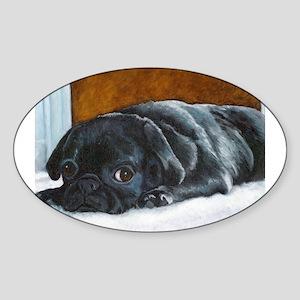 Resting Black Pug Puppy Oval Sticker
